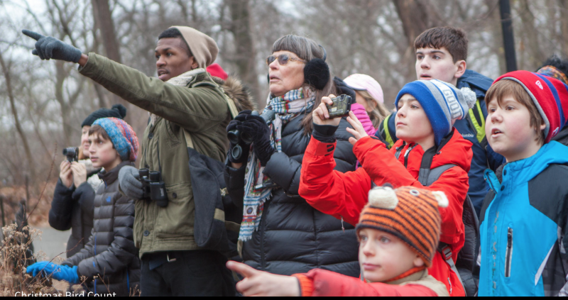Outdoor group of people in winter jackets and hats, two of them pointing up.