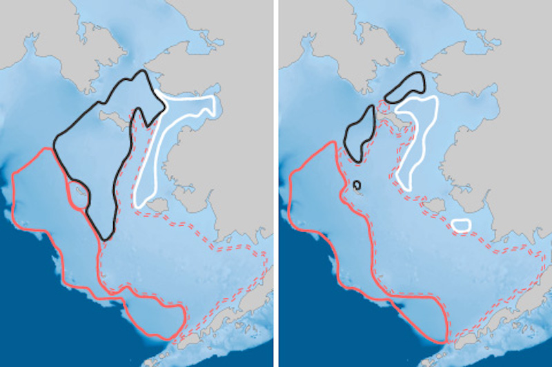 Side by side maps with outlined areas larger on left map, smaller on right.