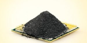 Pile of dark grains on a square.