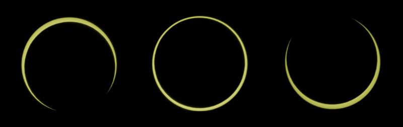 Three images, narrow rings around sun, two on sides with gaps.