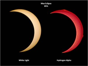 Two partial eclipse crescents, one in white light and one in hydrogen alpha.
