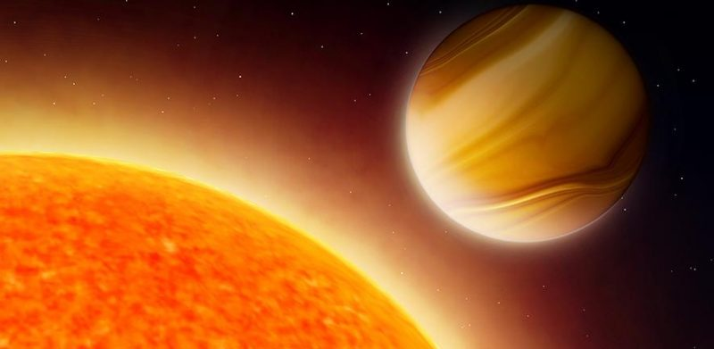 Banded giant planet close to large yellow-orange star.