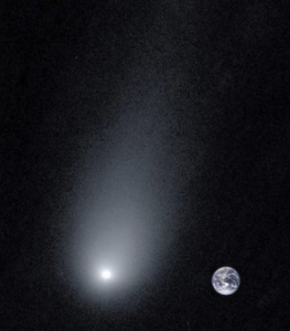 A comet, with Earth shown for scale.