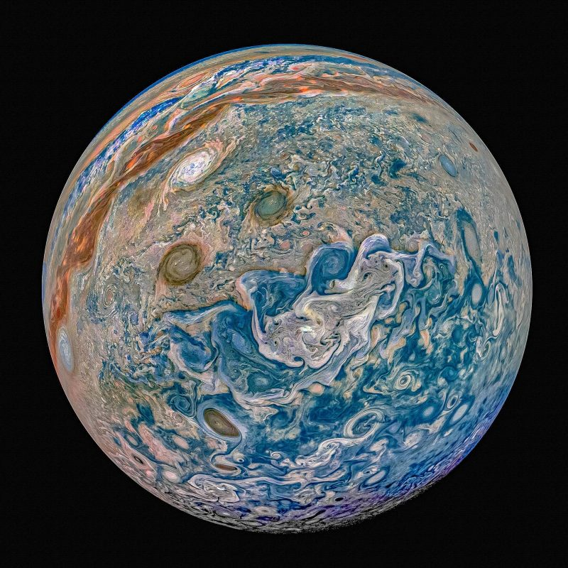 A whole Jupiter, with detailed swirls.