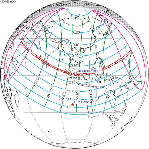Diagram of globe showing path of annular eclipse across Eastern Hemisphere.