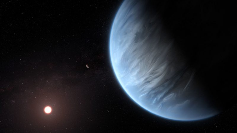 Bluish planet with clouds near star.