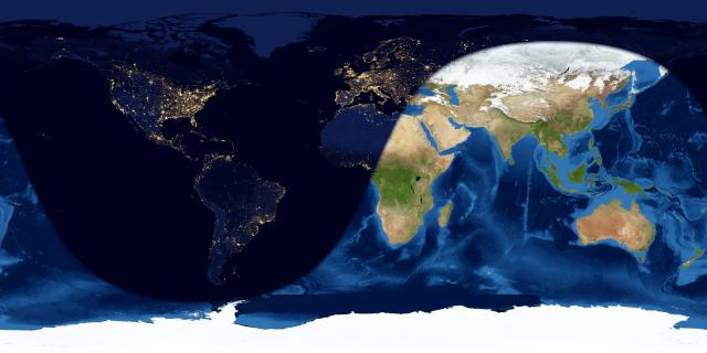 Map of Earth showing day and night sides.