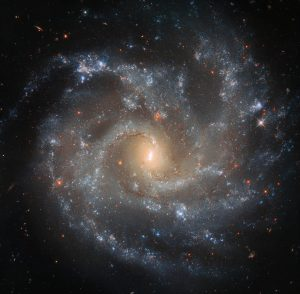 Spiral galaxy with yellow center