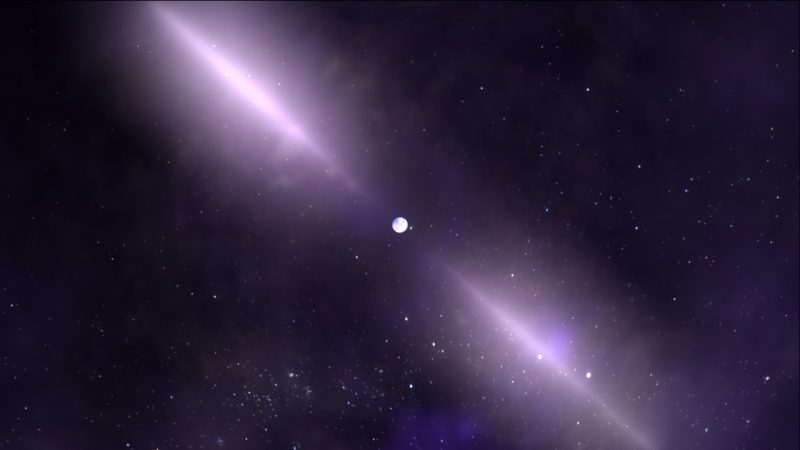 Bright round spot with two bright beams on either side with stars in background.