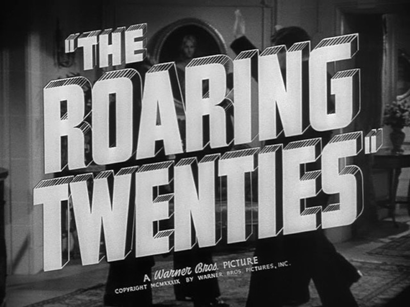 Movie poster with the words 'the roaring twenties' in big block letters.