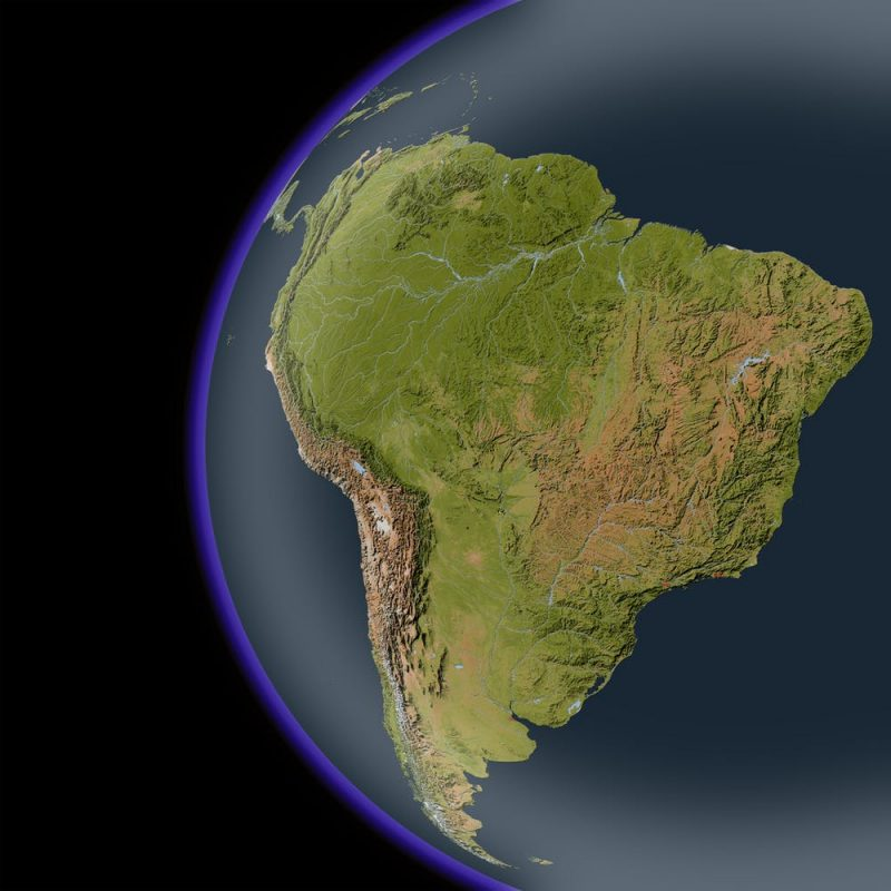 South America as seen from space without clouds showing mountains and rivers.