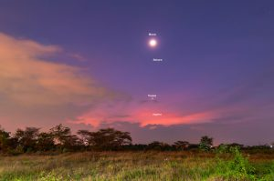 Moon and planets in a twilight sky.