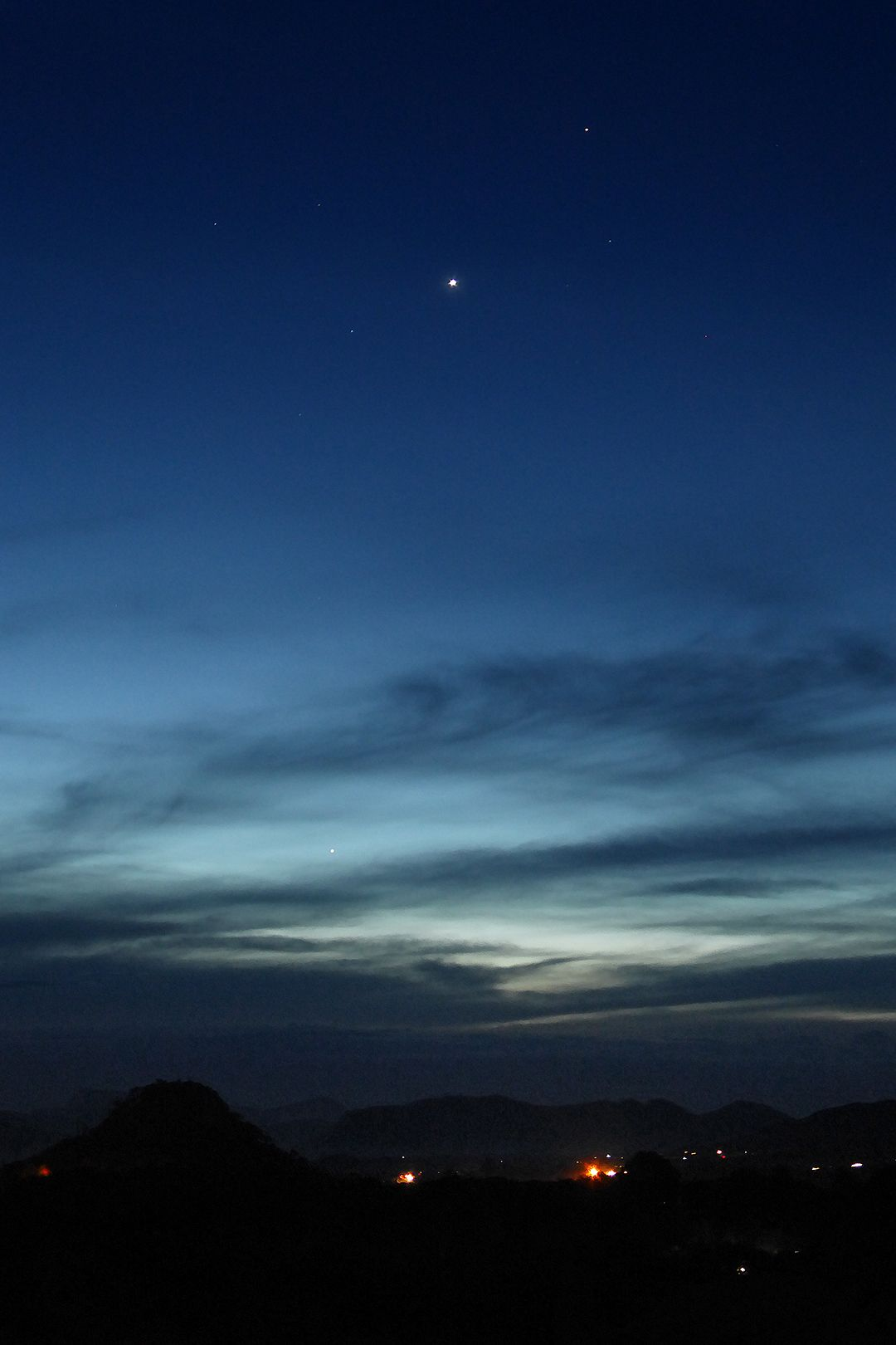 Two bright planets in the evening twilight.