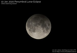 A poster for online viewing of the January 10, 2020 penumbral lunar eclipse, via Virtual Telescope Project.