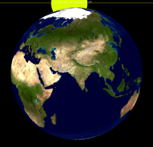 Simulation of Earth partially eclipsing the sun from the moon.
