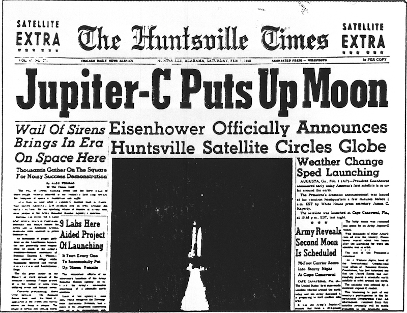 Newspaper front page with headline 'Jupiter-C Puts Up Moon' and more Explorer-related headlines.