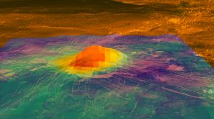Colored surface regions with brightest spot in center.