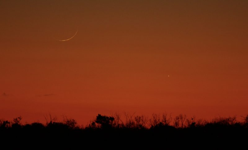 Orange twilight sky with very thin threadlike waxing moon near the horizon, and a dim starlike planet to its right.
