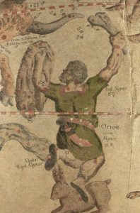 An image showing a depiction of Orion from the Mercator celestial globe. Rigel is labeled at its left foot.