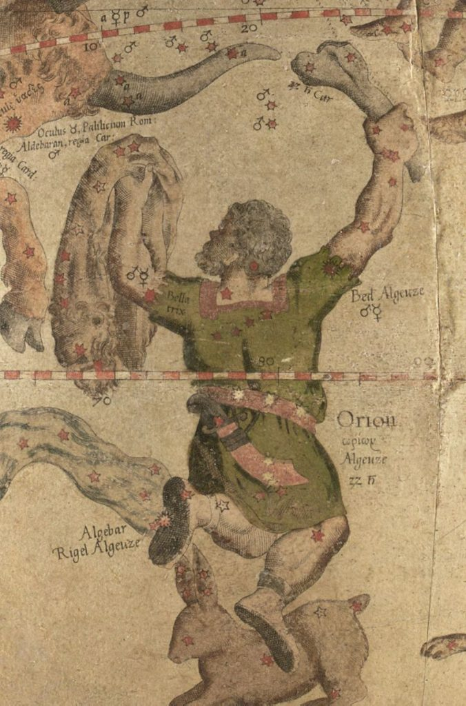 Antique colored drawing of a hunter holding a club with stars labeled.