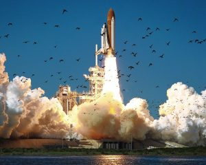 Space shuttle Challenger launch on January 28, 1986.