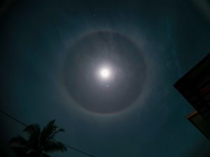 A large, bright ring that encircles the moon.