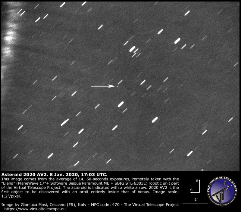 Short streaks of stars; the asteroid appears as a tiny dot with an arrow pointing to it.