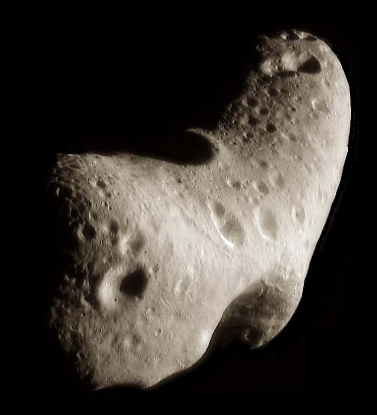 A very oblong rocky asteroid.