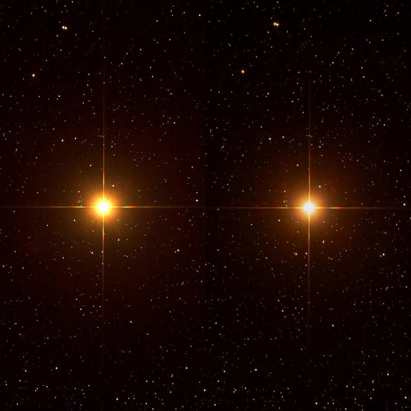 A bright red star on the left. A slightly dimmer red star on the right.