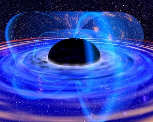 Black sphere with curved blue lines coming out of it and glowing disk around it.