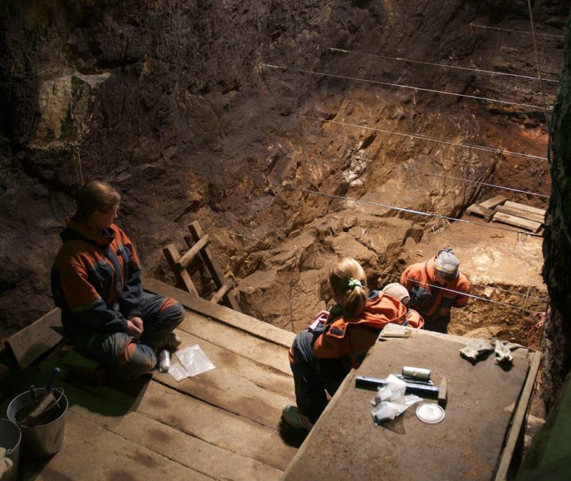 In a cave, people look down from a wooden platform into an excavation.