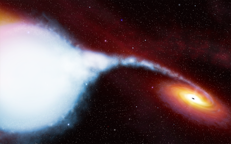 An big blue star's substance funneling toward an orange accretion disk surrounding a black hole.