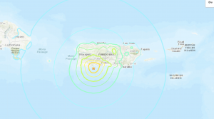 Map showing epicenter of January 7, 2020 earthquake, south of island of Puerto Rico.