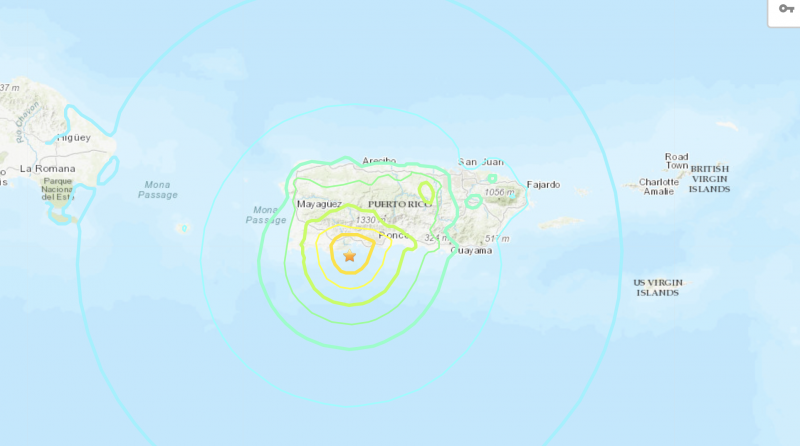 Map showing epicenter of January 7, 2020, earthquake, south of island of Puerto Rico.