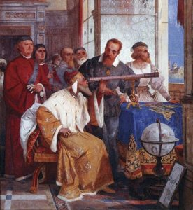 A medieval-style painting showing a wealthy seated man peering through a telescope; a red-bearded man, presumably Galileo, leans over him.