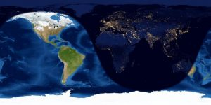 Worldwide map of day and night sides of Earth at full moon.