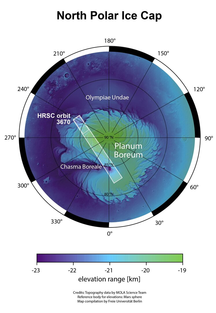 Map of Mars' north pole showing elevation in greens and blues.