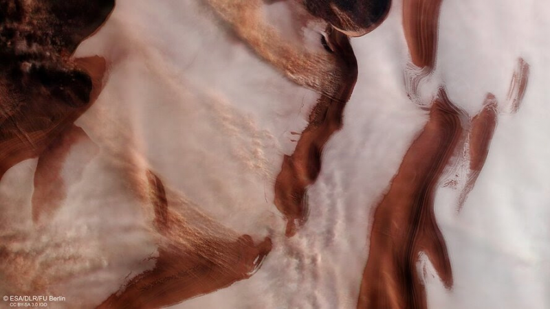 White surface with elongated red-brown streaks.