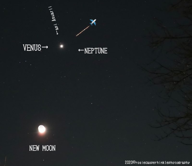 Bright overexposed moon with Venus, star, almost invisible Neptune, along with a line from an airplane's lights.