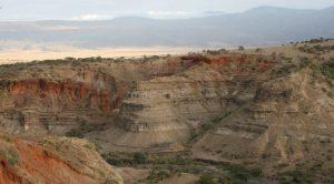 Brown, barren canyon.