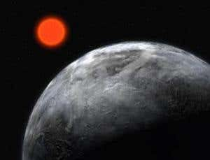 Rocky planet with orange star in background.