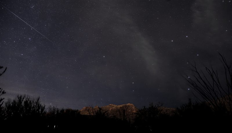 Bright streak of a meteor above a tree-filled skyline, Big Dipper vertical at right.