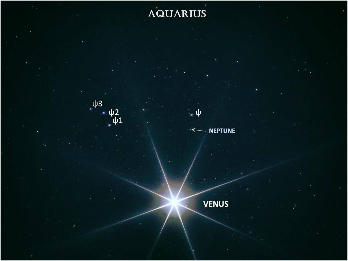 Very bright Venus and very faint Neptune against star field with stars and Venus labeled.