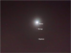 Very bright Venus, the fainter star and even fainter Neptune.