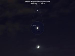 Waxing moon, Venus, Neptune.