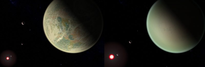 Two planets side-by-side, one with blotchy features, the other smooth, with other planets and stars in distance.