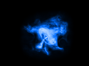 Electric blue blob on a black background
