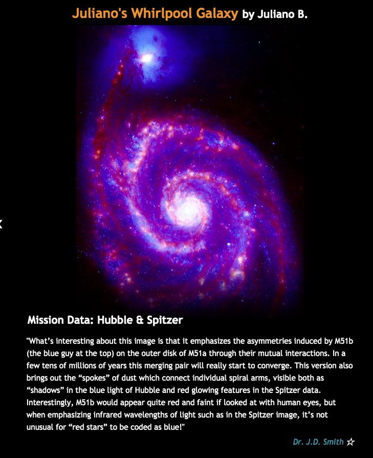 Juliano's photo of spiral galaxy mostly in red and blue with a blue-white oval at the end of one extended arm.