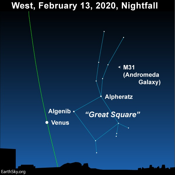 Star chart with Venus and labeled stars, Great Square, Andromeda galaxy, and line of ecliptic.