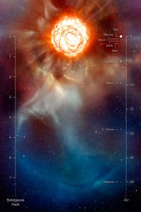 Image shows artist's depiction of Betelgeuse surface and surroundings.